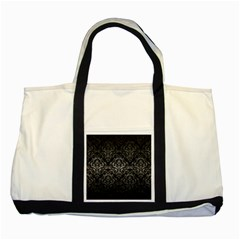 Damask1 Black Marble & Gray Metal 1 Two Tone Tote Bag