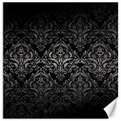 Damask1 Black Marble & Gray Metal 1 Canvas 16  X 16
