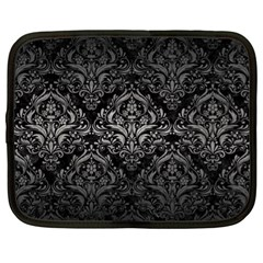 Damask1 Black Marble & Gray Metal 1 Netbook Case (xl)