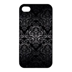 Damask1 Black Marble & Gray Metal 1 Apple Iphone 4/4s Hardshell Case