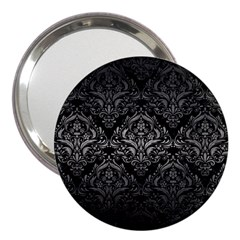 Damask1 Black Marble & Gray Metal 1 3  Handbag Mirrors
