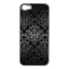 Damask1 Black Marble & Gray Metal 1 Apple Iphone 5 Case (silver)