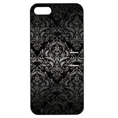 Damask1 Black Marble & Gray Metal 1 Apple Iphone 5 Hardshell Case With Stand