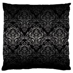 Damask1 Black Marble & Gray Metal 1 Large Flano Cushion Case (one Side)