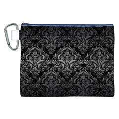 Damask1 Black Marble & Gray Metal 1 Canvas Cosmetic Bag (xxl)