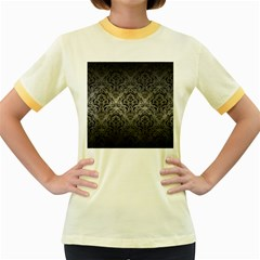Damask1 Black Marble & Gray Metal 1 (r) Women s Fitted Ringer T Shirts