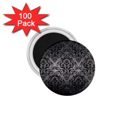 Damask1 Black Marble & Gray Metal 1 (r) 1 75  Magnets (100 Pack)