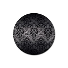 Damask1 Black Marble & Gray Metal 1 (r) Rubber Round Coaster (4 Pack)