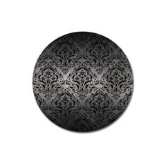 Damask1 Black Marble & Gray Metal 1 (r) Magnet 3  (round)