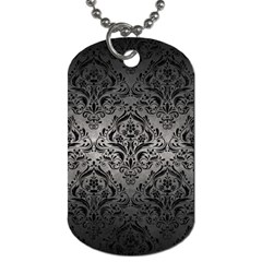 Damask1 Black Marble & Gray Metal 1 (r) Dog Tag (two Sides)