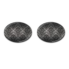 Damask1 Black Marble & Gray Metal 1 (r) Cufflinks (oval)
