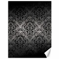Damask1 Black Marble & Gray Metal 1 (r) Canvas 36  X 48