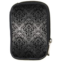 Damask1 Black Marble & Gray Metal 1 (r) Compact Camera Cases