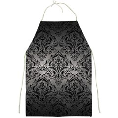 Damask1 Black Marble & Gray Metal 1 (r) Full Print Aprons
