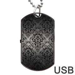 Damask1 Black Marble & Gray Metal 1 (r) Dog Tag Usb Flash (two Sides)