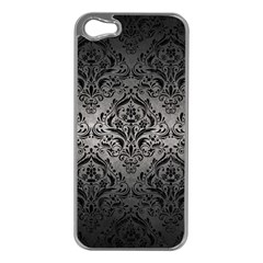 Damask1 Black Marble & Gray Metal 1 (r) Apple Iphone 5 Case (silver)