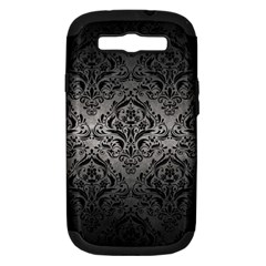 Damask1 Black Marble & Gray Metal 1 (r) Samsung Galaxy S Iii Hardshell Case (pc+silicone)