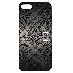 Damask1 Black Marble & Gray Metal 1 (r) Apple Iphone 5 Hardshell Case With Stand