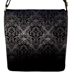 Damask1 Black Marble & Gray Metal 1 (r) Flap Messenger Bag (s)