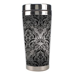 Damask1 Black Marble & Gray Metal 1 (r) Stainless Steel Travel Tumblers