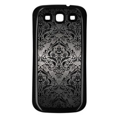 Damask1 Black Marble & Gray Metal 1 (r) Samsung Galaxy S3 Back Case (black)