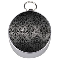 Damask1 Black Marble & Gray Metal 1 (r) Silver Compasses
