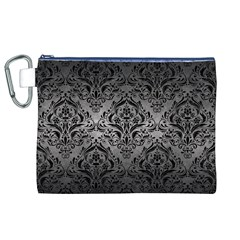 Damask1 Black Marble & Gray Metal 1 (r) Canvas Cosmetic Bag (xl)