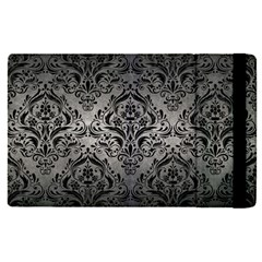 Damask1 Black Marble & Gray Metal 1 (r) Apple Ipad Pro 12 9   Flip Case