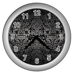 Damask2 Black Marble & Gray Metal 1 Wall Clocks (silver)