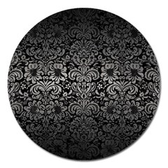 Damask2 Black Marble & Gray Metal 1 Magnet 5  (round)