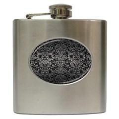 Damask2 Black Marble & Gray Metal 1 Hip Flask (6 Oz)