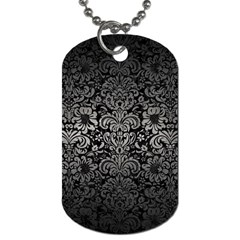 Damask2 Black Marble & Gray Metal 1 Dog Tag (two Sides)