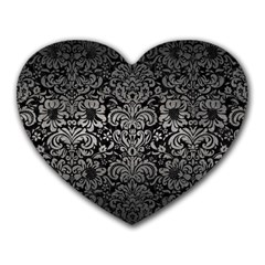 Damask2 Black Marble & Gray Metal 1 Heart Mousepads