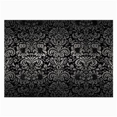Damask2 Black Marble & Gray Metal 1 Large Glasses Cloth
