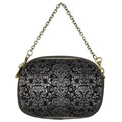 Damask2 Black Marble & Gray Metal 1 Chain Purses (one Side)
