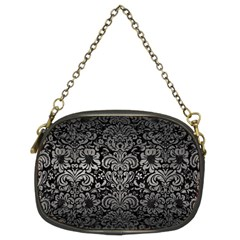 Damask2 Black Marble & Gray Metal 1 Chain Purses (two Sides)