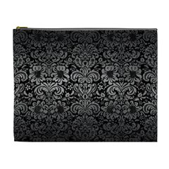 Damask2 Black Marble & Gray Metal 1 Cosmetic Bag (xl)