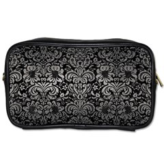 Damask2 Black Marble & Gray Metal 1 Toiletries Bags
