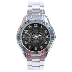 Damask2 Black Marble & Gray Metal 1 Stainless Steel Analogue Watch
