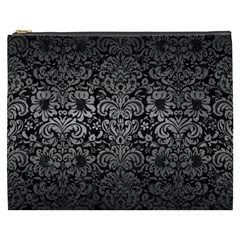 Damask2 Black Marble & Gray Metal 1 Cosmetic Bag (xxxl)
