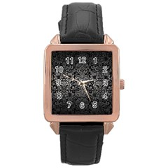 Damask2 Black Marble & Gray Metal 1 Rose Gold Leather Watch