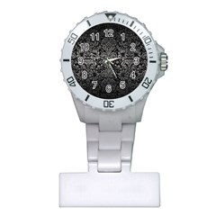 Damask2 Black Marble & Gray Metal 1 Plastic Nurses Watch