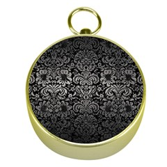 Damask2 Black Marble & Gray Metal 1 Gold Compasses