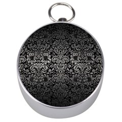 Damask2 Black Marble & Gray Metal 1 Silver Compasses