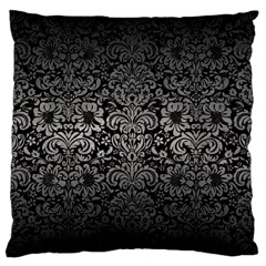 Damask2 Black Marble & Gray Metal 1 Large Flano Cushion Case (one Side)
