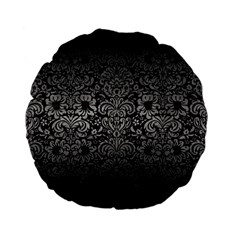 Damask2 Black Marble & Gray Metal 1 Standard 15  Premium Flano Round Cushions