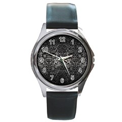 Damask2 Black Marble & Gray Metal 1 (r) Round Metal Watch