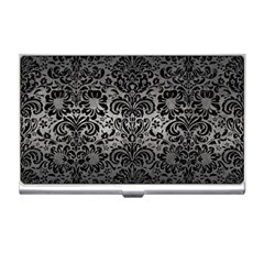 Damask2 Black Marble & Gray Metal 1 (r) Business Card Holders