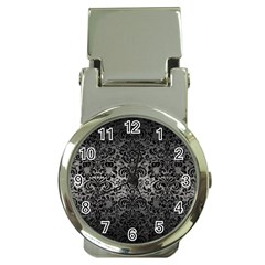 Damask2 Black Marble & Gray Metal 1 (r) Money Clip Watches