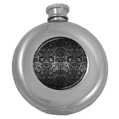Damask2 Black Marble & Gray Metal 1 (r) Round Hip Flask (5 Oz)